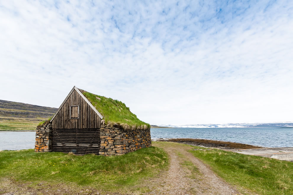 Icelandic stone house with grass roof