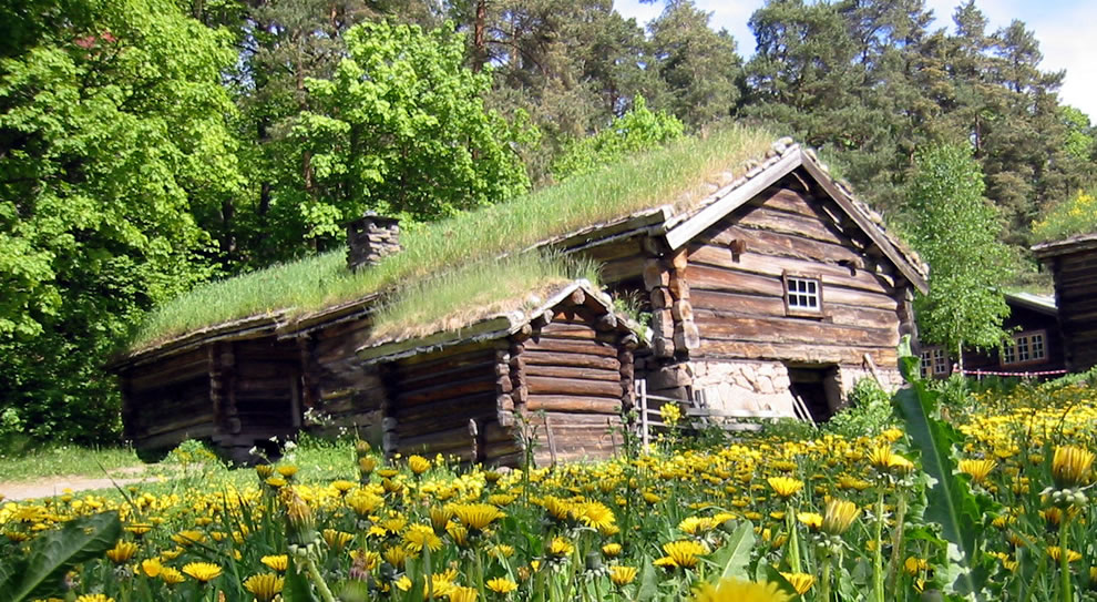 Sod roof on log buildings of Norsk Folkemuseum in Oslo Norway