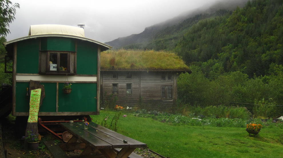 Tea cart and grass roof in Scotland