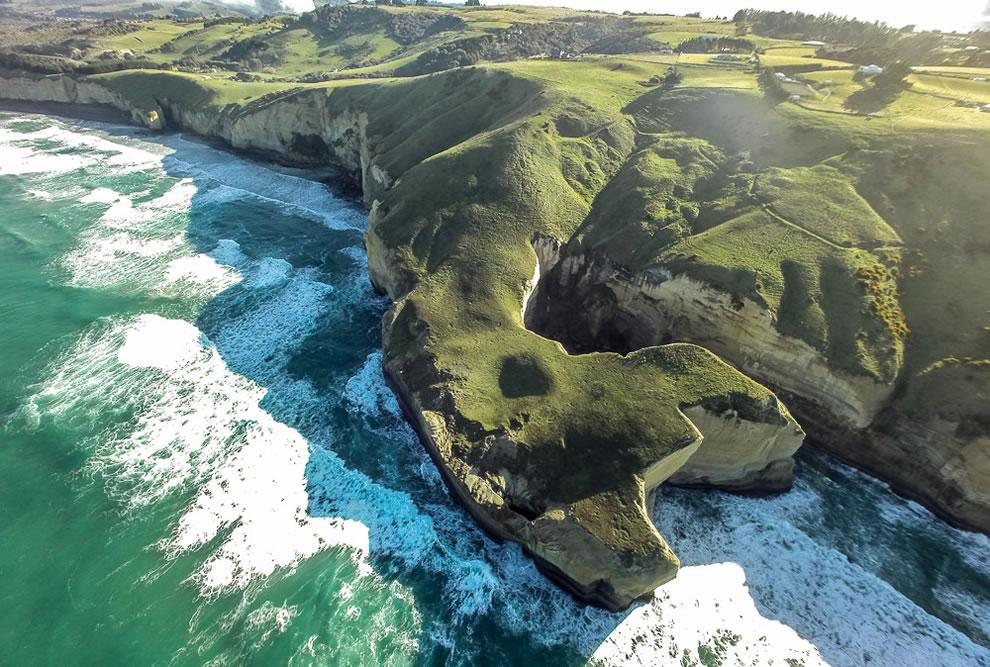 Aerial view near near Tunnel Beach, Dunedin, New Zealand