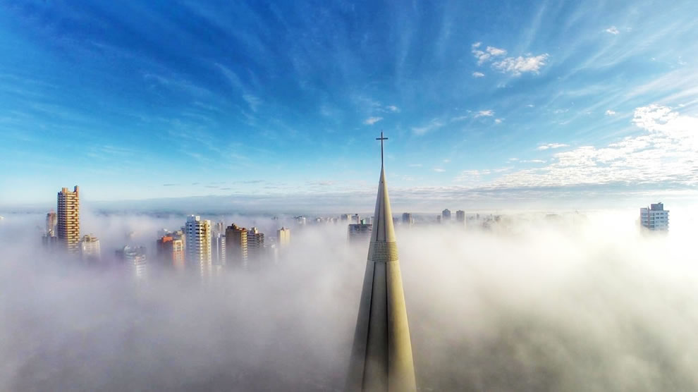 Dronestagram first place winner in category places Above the mist