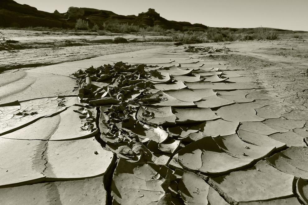 Cracked earth at Bisti Badlands